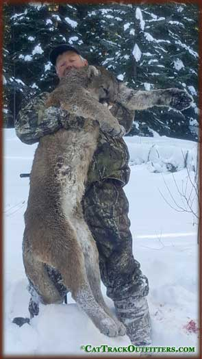 Colorado lion hunting guide and outfitter, Cat Track took this hunter mountain lion hunting in Colorado