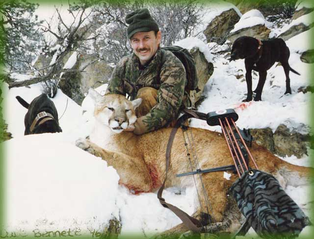 guided mountain lion hunts - a record book tom, from Cat Track Outfitters, archery hunting guides in Colorado